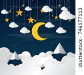 night sky with moon and star...   Shutterstock .eps vector #746177113