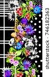 flowers and line art | Shutterstock . vector #746182363