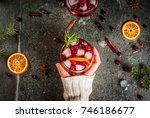 christmas winter drinks. girl...   Shutterstock . vector #746186677