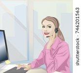 female call center operator...   Shutterstock .eps vector #746201563