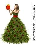 christmas tree dress  woman... | Shutterstock . vector #746236027