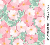 seamless pattern of floral... | Shutterstock .eps vector #746237713