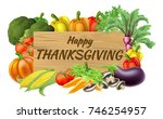 happy thanksgiving fruits and... | Shutterstock .eps vector #746254957