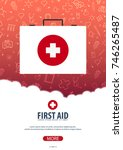 first aid. medical poster.... | Shutterstock .eps vector #746265487