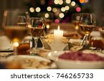 beautiful dining table full of...   Shutterstock . vector #746265733