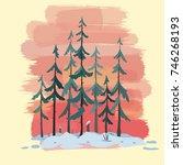 winter cartoon pine forest...   Shutterstock .eps vector #746268193