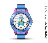 vector photo realistic watch on ... | Shutterstock .eps vector #746272747