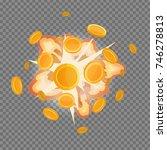 golden coin fire fog massive... | Shutterstock .eps vector #746278813