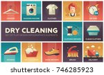 dry cleaning   set of flat... | Shutterstock .eps vector #746285923