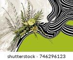 flowers and line art design  | Shutterstock . vector #746296123