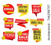 christmas sale banner set.... | Shutterstock . vector #746298757