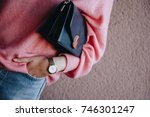 close up fashion details  young ... | Shutterstock . vector #746301247