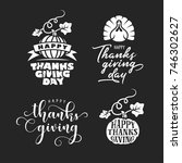 thanksgiving typography set.... | Shutterstock .eps vector #746302627