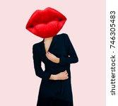 contemporary art collage.... | Shutterstock . vector #746305483
