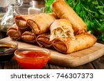 spring rolls with chicken and... | Shutterstock . vector #746307373