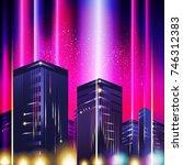 new retro wave background.... | Shutterstock .eps vector #746312383