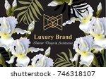 iris flowers card vector....   Shutterstock .eps vector #746318107