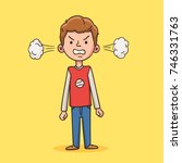 angry boy with steam from his... | Shutterstock .eps vector #746331763