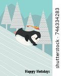 funny penguin riding on a snowy ... | Shutterstock .eps vector #746334283