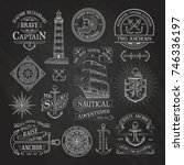 set of vintage nautical labels... | Shutterstock .eps vector #746336197