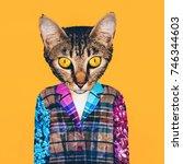 contemporary art collage.... | Shutterstock . vector #746344603
