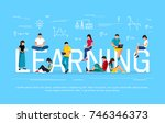 e learning concept. young... | Shutterstock . vector #746346373
