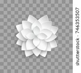 white paper 3d lotus isolated... | Shutterstock .eps vector #746353507