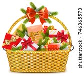 vector basket with christmas...   Shutterstock .eps vector #746365573