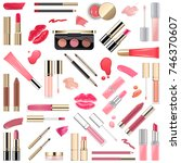 vector lips makeup cosmetics | Shutterstock .eps vector #746370607