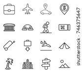 thin line icon set   portfolio  ... | Shutterstock .eps vector #746375647