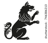 heraldic pet dog or wolf animal ... | Shutterstock . vector #746386213