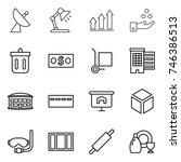 thin line icon set   satellite... | Shutterstock .eps vector #746386513