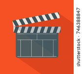 black open clapperboard over... | Shutterstock .eps vector #746388847