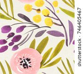 seamless watercolor pattern on... | Shutterstock . vector #746405467