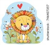 cute cartoon lion with flowers...   Shutterstock .eps vector #746407357