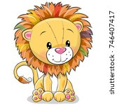 cute cartoon lion isolated on a ... | Shutterstock .eps vector #746407417
