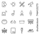 thin line icon set   touch ... | Shutterstock .eps vector #746413273