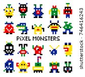 vector pixel invaders vector... | Shutterstock .eps vector #746416243