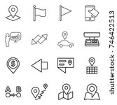 thin line icon set   pointer ... | Shutterstock .eps vector #746422513