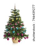 potted christmas tree with... | Shutterstock . vector #746439277