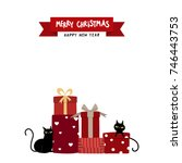 Stock vector merry christmas with black cat and red gift box 746443753