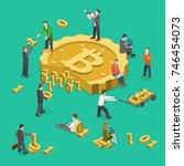 bitcoin mining flat isometric... | Shutterstock .eps vector #746454073