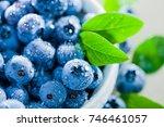 ceramic bowl with black berries | Shutterstock . vector #746461057