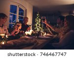 extended family toasting wine... | Shutterstock . vector #746467747