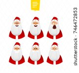 santa claus characters emotions ... | Shutterstock .eps vector #746472853