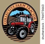 colored vector tractor pattern... | Shutterstock .eps vector #746473663