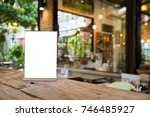 mock up menu object in cafe and ... | Shutterstock . vector #746485927