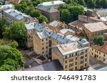 old brick houses with rusty... | Shutterstock . vector #746491783
