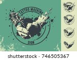 tattoo machine and hand sign | Shutterstock .eps vector #746505367