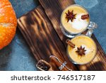pumpkin spice latte  hot coffee ... | Shutterstock . vector #746517187